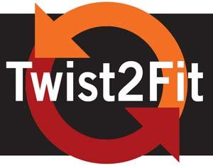 Logo del sistema Twist2fit en mochilas Vaude