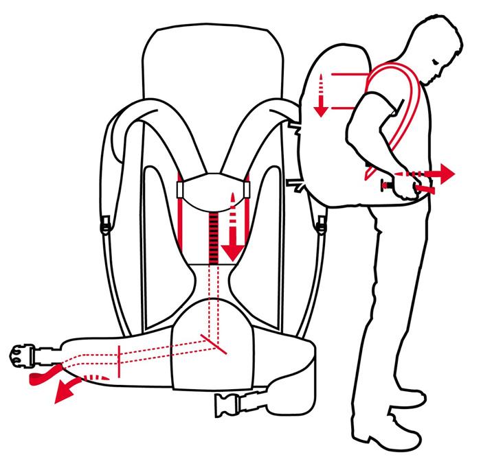 Sistema de suspensión Tergolight Easy Adjust en mochilas Vaude
